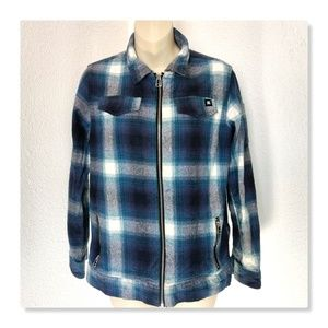 DC Blue Plaid Size 16-18 Large Zippered Flannel